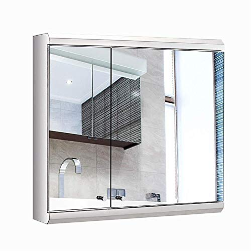 HIZLJJ Bathroom Wall Mirror Cabinet,Multipurpose Storage Organizer Medicine Cabinet Space Saver with Double Door Adjustable Shelf Kitchen Cupboard (Size : S)