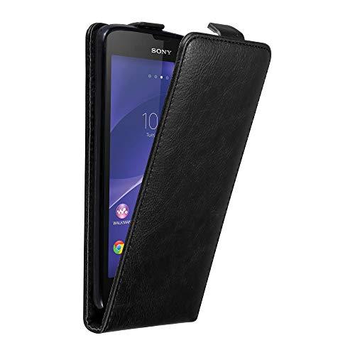 Cadorabo Hülle für Sony Xperia T3 in Nacht SCHWARZ - Handyhülle im Flip Design mit Magnetverschluss - Case Cover Schutzhülle Etui Tasche Book Klapp Style