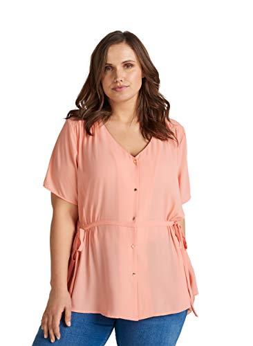 Zizzi Damen Große Größen Bluse mit V Ausschnitt und kurzen Ärmeln Gr 42-56