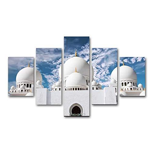 Impresiones en lienzo HD Pintura de 5 piezas Arquitectura islámica Cartel Arte de la pared Sala de estar musulmana Cocina Pared Imágenes modulares Decoración de arte M4 200x100 cm
