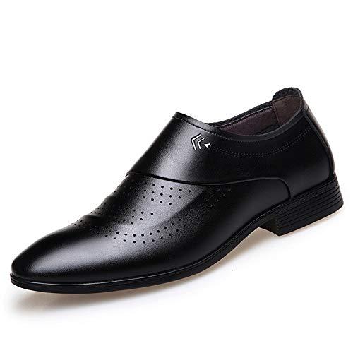 XYZDZ Casual Zapatos de Boda Formales Piel de Microfibra Punta Estrecha dueño de Oxford de los Hombres de Perforado Transpirable sólido de Color Suela de Goma Resistente al Desgaste para Hombre