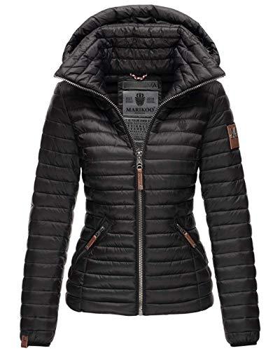 MARIKOO Damen Jacke Steppjacke Übergangsjacke gesteppt B839 [B839-Löwe-Schwarz-Gr.M]