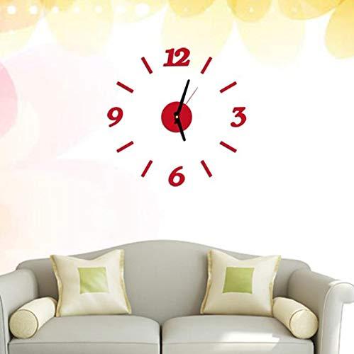 Fghyh Große DIY Wanduhr, Moderne 3D rahmenlose Wanduhr mit Spiegel-Zahlen Aufkleber für Zuhause, Büro, Wohnzimmer, Schlafzimmer, Wanddekoration Silber (#3)