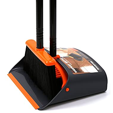 TreeLen Dust Pan and Broom/Dustpan Cleans Broom Combo with 54  Long Handle for Home Kitchen Room Office Lobby Floor Use Upright Stand Up Broom and Dustpan Set