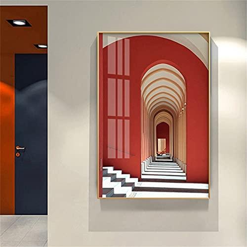 Kingkoil Espacio Estéreo De La Construcción Urbana Arte Mural Papel Pintado Cartel De Lona Corredor De Sala De Estar Para El Dormitorio Decoración De Pintura 30x45cm NoFramed