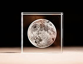 AmazingBug 3D Moon Paperweight(Laser Etched) in Crystal Glass Cube Birthday (No Included LED Base)(2.4x2.4x2.4)