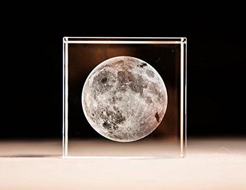3D Mond Briefbeschwerer (Lasergravur) in Kristall Glas Cube Geburtstag/Weihnachten Geschenke (keine enthalten LED-Base) (6,1x 6,1x 6,1cm)