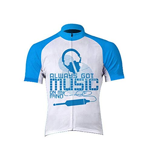 Maglia Ciclismo Maniche Corte Uomo,Summer Breathable Quick Dry Printed Creative Blue Music Letters Mountain Cycling Jersey Biking Shirt,Full Zipper Mtb Road Bicycle Riding Tops For Sports Outdoors B