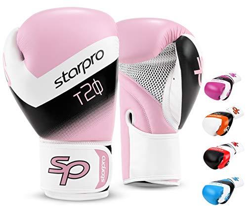 Starpro Kinder T20 Boxhandschuhe | PU Leder | Blau Pink und Weiß | Für Jugendtraining und Sparring im Boxen Kickboxen Fitness und Boxen | Kinder 4oz 6oz (Rosa/Weiß, 4oz)