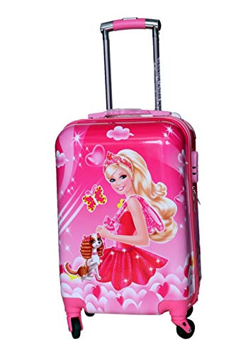D's PARADISE Girl's D's Polycarbonate Cartoon Barbie/Princess Print 21 Inch Suitcase/Trolley Bags with Back Print (Pink)