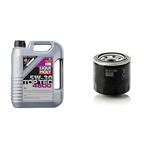 LIQUI MOLY 3729 Top Tec 4500 Motoröl 5 W-30 5 L & Original MANN-FILTER Ölfilter W 811/80 – Für...