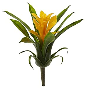 """Nearly Natural 10"""" Bromeliad Artificial Flower Stem, Set of 6, Yellow"""