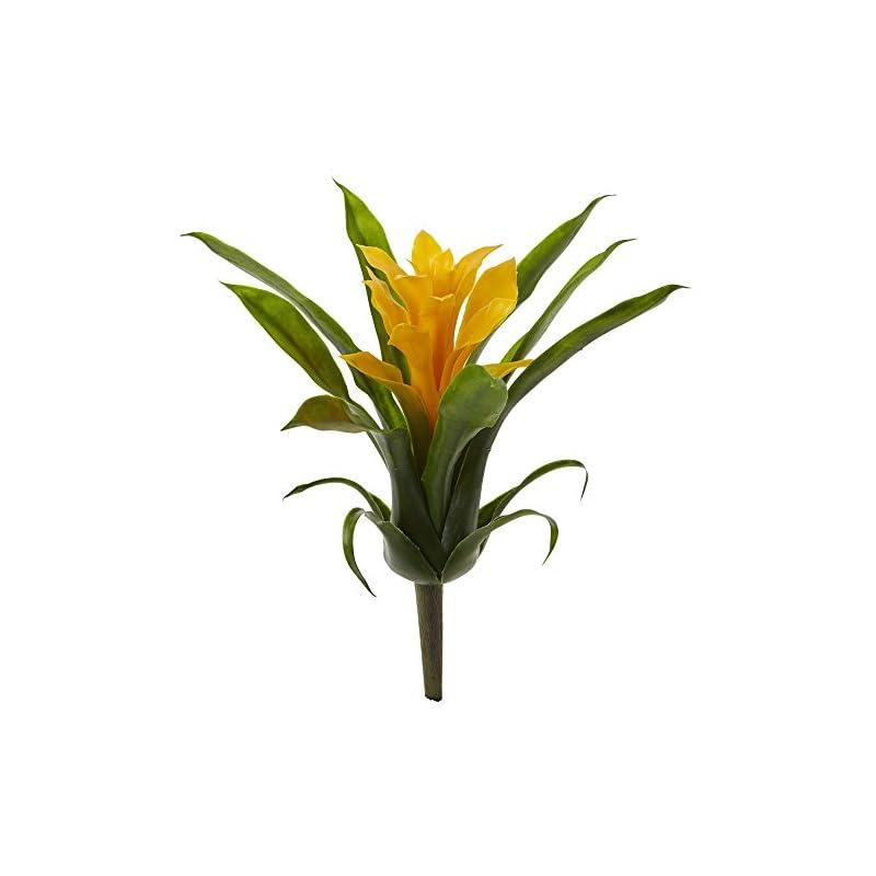 "silk flower arrangements nearly natural 10"" bromeliad artificial flower stem, set of 6, yellow"