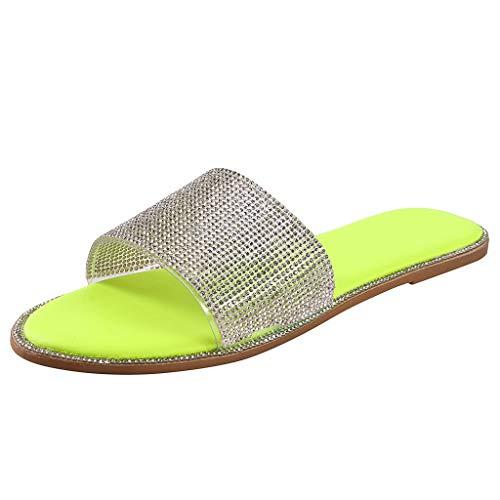 Sandalen Frauen Kristall Flache Hausschuhe Casual Beach Indoor Outdoor Schuhe (41,Gelb)