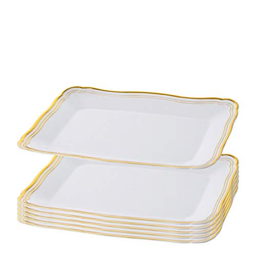 Plastic Serving Tray   White Rectangular Serving Trays With Gold Rim Border, Disposable Heavyweight Serving Party 9' x 13' Platters, 6 Pack - Posh Setting