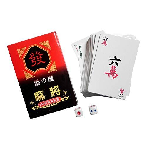 Foliner Mahjong-Spielkarten Chinesisches traditionelles klassisches Kartenspiel Brettspiel mit 2 Würfeln für Spaß Tischkartenspiel 144 Karten/Set