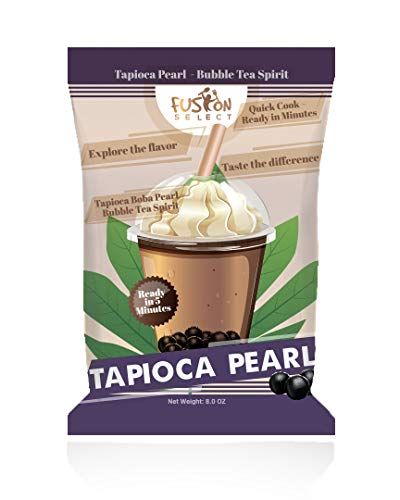 Fusion Select Tapioca Pearl - Black Sugar Flavor Quick Cook Tapioca, DIY Boba, Ready in 5 Minutes, Boba Pearls, Bubble Tea Pearl, Milk Tea Topping, Net Weight 8 Ounce (Pack of 1)
