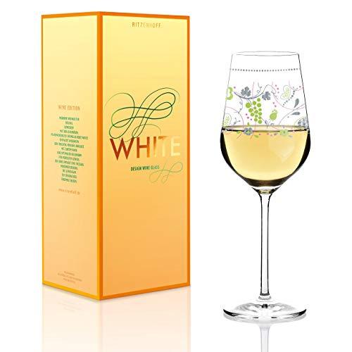 RITZENHOFF White Weißweinglas von Sandra Brandhofer, aus Kristallglas, 360 ml, mit edlen Platinanteilen