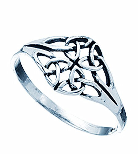 Anello con nodo celtico pregiato da donna con nodo celtico, argento sterling, gioielli irlandesi, dimensione: 17