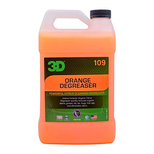 3D Orange Degreaser - Organic Citrus All Purpose Cleaner - Safe for Interior & Exterior Use - Multi Surface Degreaser to Clean Grease & Grime on Plastic, Cloth, Vinyl, Metal, Leather, Carpet 1 Gallon