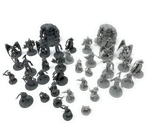 Path Gaming 38 Pc Fantasy Tabletop Role Playing Figures for Dungeons and Dragons, Pathfinder Roleplaying Games. 28MM Scaled Miniatures, 10 Unique Designs, Bulk Unpainted, Great for D&D/DND