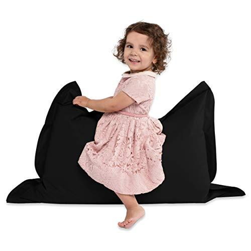 Green Bean  BeBi Mini Sitzsack 100x70 cm - 70 Liter EPS Perlen Füllung - PVC Bezug - Indoor & Outdoor Beanbag für Kinder - Sitzkissen Bean Bag Bodenkissen - Kindersitzsack Stuhl - Schwarz