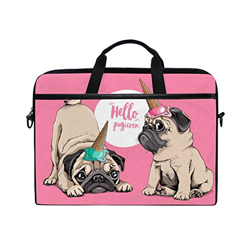 ALAZA Adorable Puppy Pug Pink Ice Cream Party Cap 15 inch Laptop Case Shoulder Bag Crossbody Briefcase for Women Men Girls Boys with Shoulder Strap Handle, Back to School Gifts