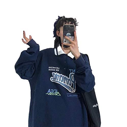N-B Retro-Poloshirt für Frauen Übergroßer Hoodie, Mode im koreanischen Stil, Sweatshirt mit Buchstabenmuster, Topholong Harajuku mit Langen Ärmeln