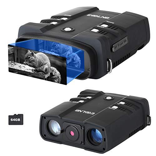 ESSLNB Binocolo Visione Notturna 10,8X31mm Visore Notturno Caccia 1080P Immagine 4' LCD Schermo con 64G TF Carta Foto Telecamera Video Registratore Funzione di Riproduzione
