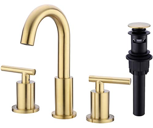 TRUSTMI 2 Handle 8 Inch Brass Bathroom Sink Faucet 3 Hole Widespread with Valve and cUPC Water...