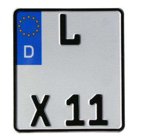KFZ-Kennzeichen Motorrad Saison EU 180 x 200 mm, reflektierend, Motorradschild mit Wunschkennzeichen