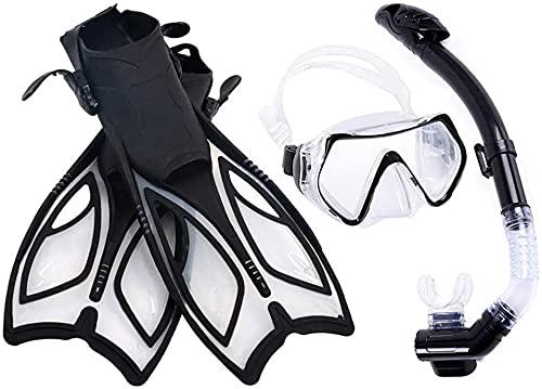 Goggles Gafas de Buceo Máscara de Buceo Conjunto de Snorkel Profesional Máscara de Buceo Submarino Scuba Máscara Aletas de natación Libre respiración para Snorkeling LQHZWYC (Color : Black, Size : L)
