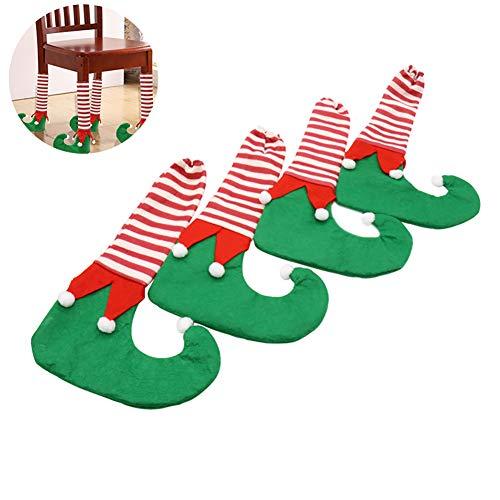4 Stück Weihnachten Stuhlbeinsocke Möbel Socken Anti-Rutsch Stuhl Socken Lustige Stiefel-Form Stuhl Kappe Fußboden Tisch Stuhl Bein Schutz, Grün