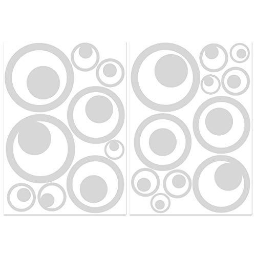 Wandkings.de Vogelschutz-Aufkleber für Fenster, Retro-Kreise, 20Stück, erhältlich in 33Farben hellgrau