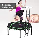 MOVTOTOP Indoor Fitness Trampoline Folding 48 Inch with Adjustable Handrail and Safety Pad, Exercise Trampoline Rebounder for Indoor/Garden Workout (Green)