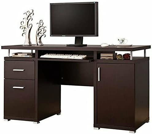 2 Drawer Computer Desk in Genuine Tables for Cappuccino Max 63% OFF Adjustable Offic