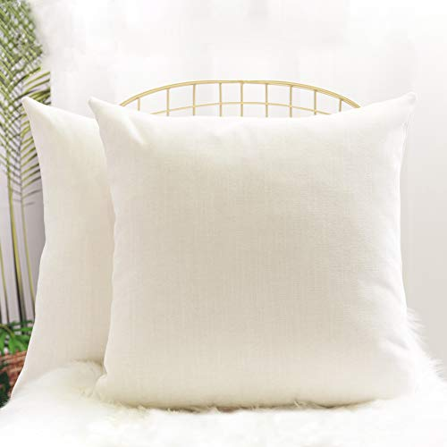 LiilisPoetic Home Pack of 2 Throw Pillow Covers, Soft Square Decorative Sold Pillowcases for Living Room Couch Sofa Bed and Outdoor, 20x20 Inches 50.8x50.8 cm, Cream