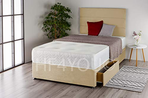 Home Furnishings UK Suede 3 Panel Divan Bed Set with a Memory Sprung Mattress and Matching Headboard (2 Drawers) (3FT Single, Cream)