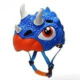 QUOP Casco de Dinosaurio para niños, Equipo de protección de Seguridad Multideporte 3D, diseño Grueso Ligero Transpirable de Dibujos Animados, monopatín Bicicleta Scooter Casco - 49-55 CM,Triceratops