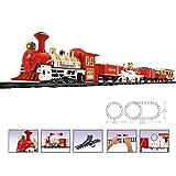 WEB2O Grand Coffret Train électrique de Noël - Son et Lumière - Décoration de Noël Train avec Wagon animés et Rails Sapin père Noel - 26 Pièces