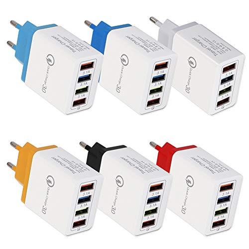 yosemite Caricatore Da Muro Portatile Da Viaggio 4 Porte USB Adattatore Di Alimentazione Di Ricarica Rapida QC 3.0 Uscita 48W 5V / 3A Per Telefoni Android PD Rosso Spina UE