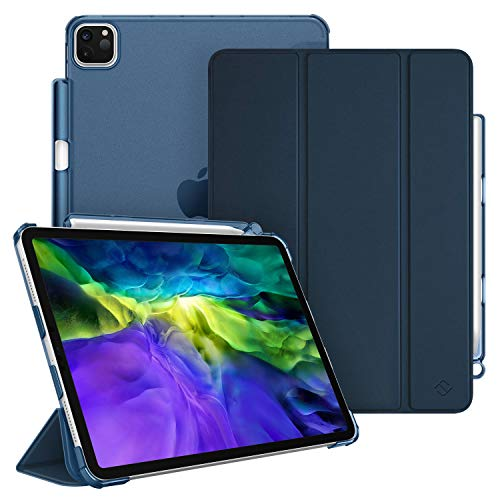 FINTIE Case for iPad Pro 11' 2020/2018 with Pencil Holder [Supports 2nd Gen Pencil Charging] - SlimShell Lightweight Translucent Frosted Stand Back Cover with Auto Wake/Sleep, Navy