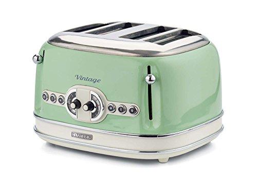 Ariete 156 Tostapane Vintage 4 Fette, 1600 watt, 6 livelli di tostatura, in acciaio inox verniciato in colore Verde pastello; senza pinze