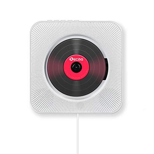 Reproductor de CD portátil con Bluetooth, soporte de pared para CD, reproductor de música, Home Audio English FM Radio con control remoto FM Radio USB MP3 de 3,5 mm Jack