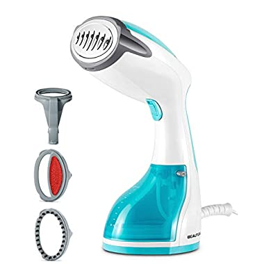 BEAUTURAL 1200-Watt Steamer for Clothes with Pump Steam Technology, Portable Handheld Garment Fabric Wrinkles Remover, 30s Fast Heat-up, Auto-Off, 8.79 oz. Large Detachable Water Tank