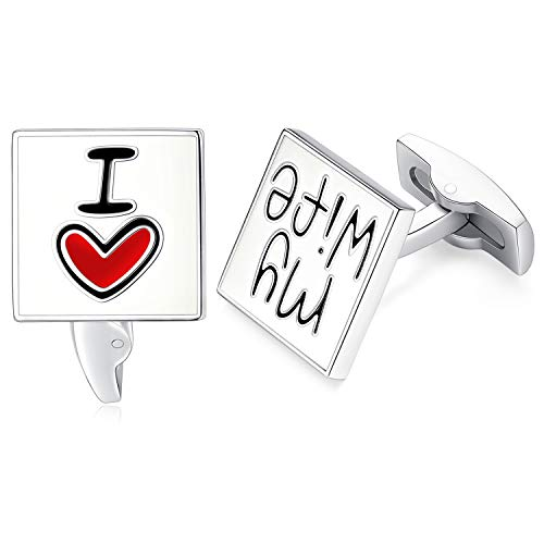 "Honey Bear 1 Paar Herren Manschettenknöpfe Cufflinks Edelstahl ""I Love My Wife"""