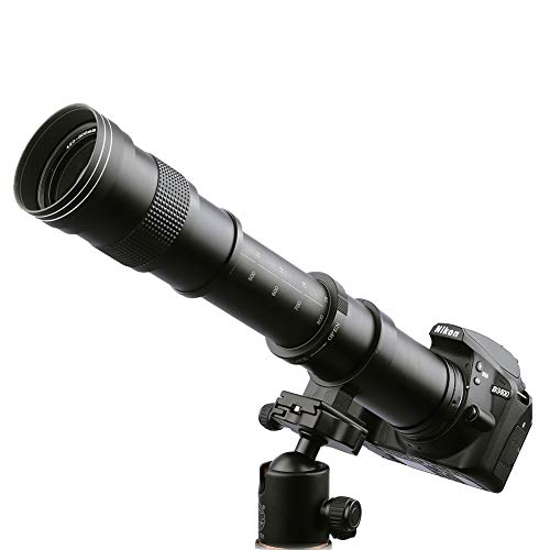 Lightdow 420-800mm f/8.3 Manual Zoom Telephoto Lens + T-Mount for Nikon D5500 D3300 D3200 D5300 D3400 D7200 D750 D3500 D7500 D500 D600 D700 D800 D810 D850 D3100 D5100 D5200 D7000 D7100 Camera Lenses