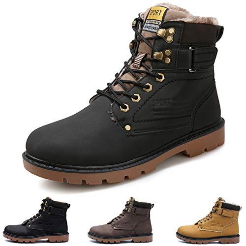 Camfosy - Botas de Tobillo para Hombre, Invierno con Forro de Piel, Impermeables, cómodas, Impermeables, Antideslizantes, Casual, Martin Botas al Aire Libre, Zapatos de Trabajo, Zapatos para Caminar
