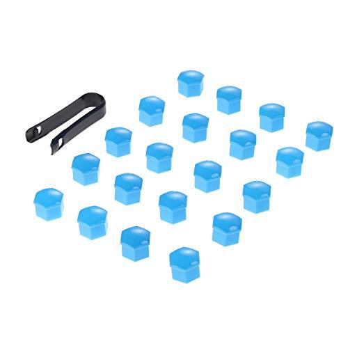 VOSAREA 21 en 1 Boulon écrou de Roue Capuchons Protection Hexagonal pour écrous de Roue Universel Cache Vis écrou de Protection avec Pince Bleu 17mm