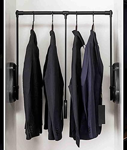 Klädställ Garderob Lyft Klädstångsutrymme Spara, Hiss/Dra ner Garderob Kläder Råg Metallrör Justerbar Bredd 51-115cm Kläder Hängande Rail Soft Retur (Size : 850-1150mm/33.5-45inch)
